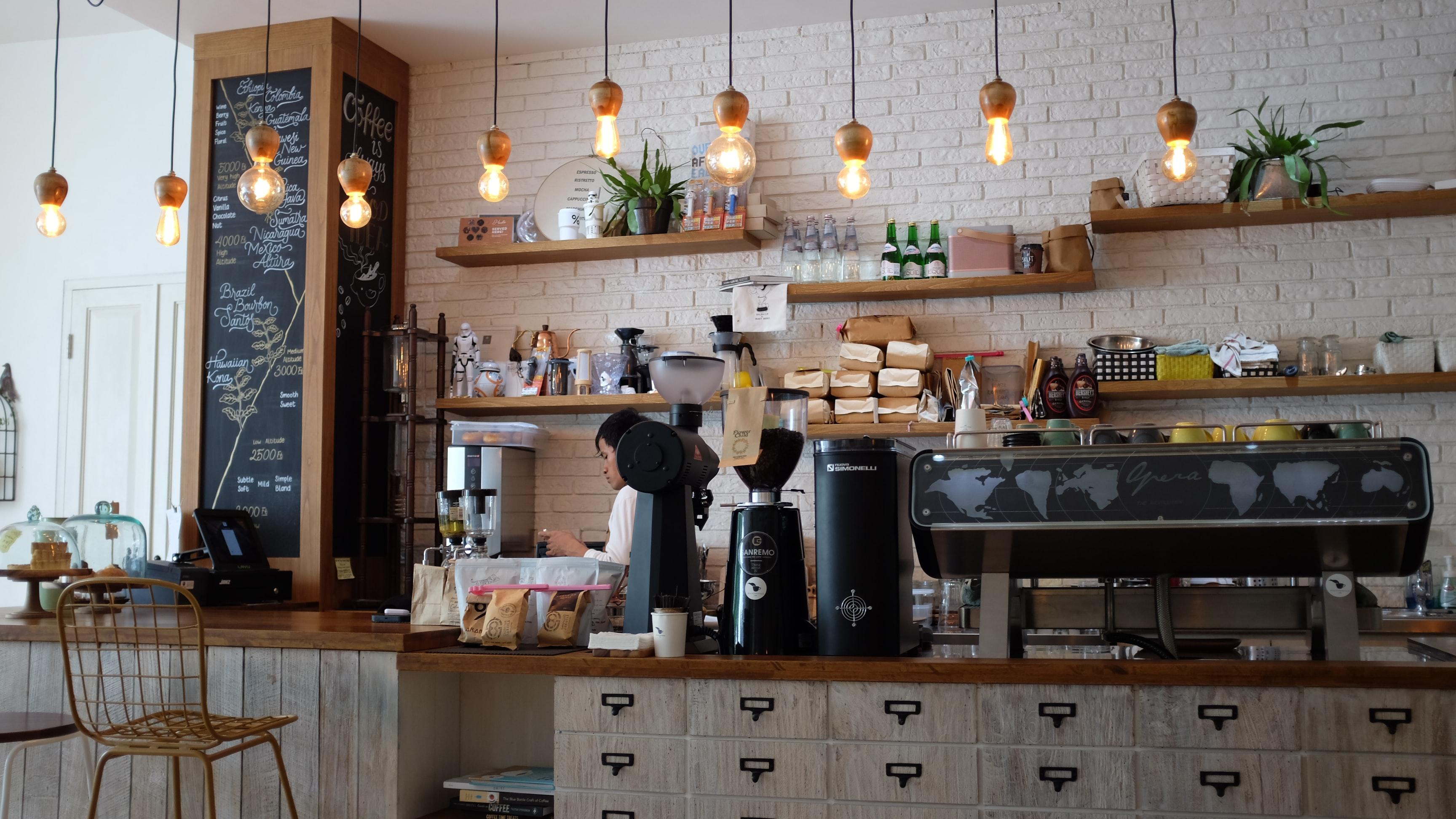 light, airy coffee shop interior